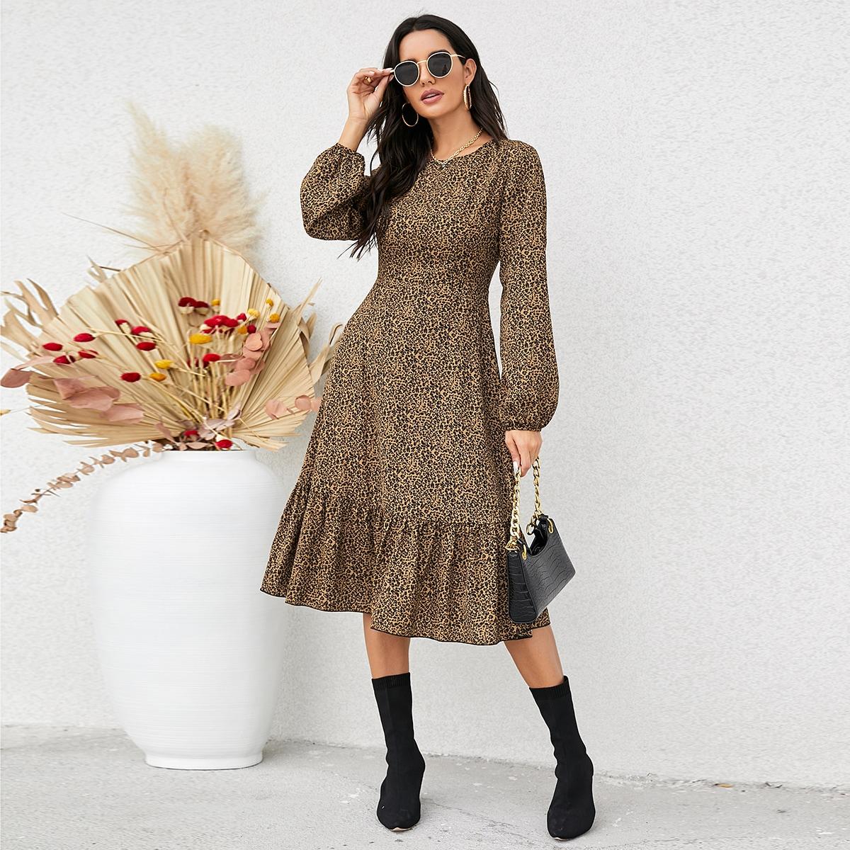 Leopard Print Ruffle Hem A-line Dress