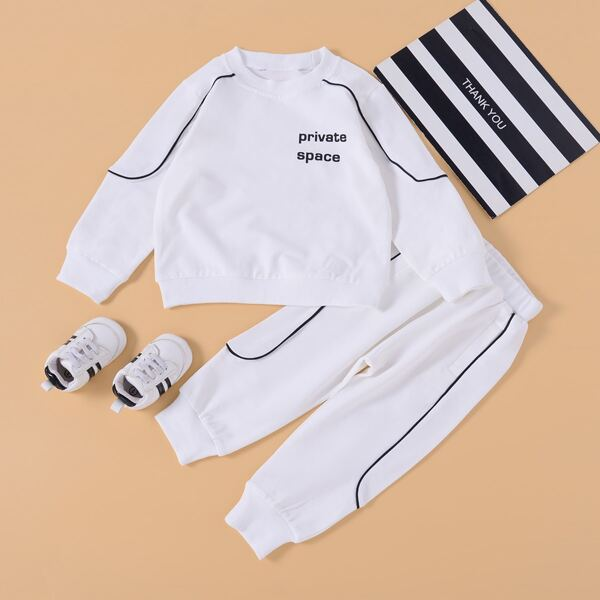 Toddler Boys Letter Graphic Contrast Piping Sweatshirt With Joggers, White