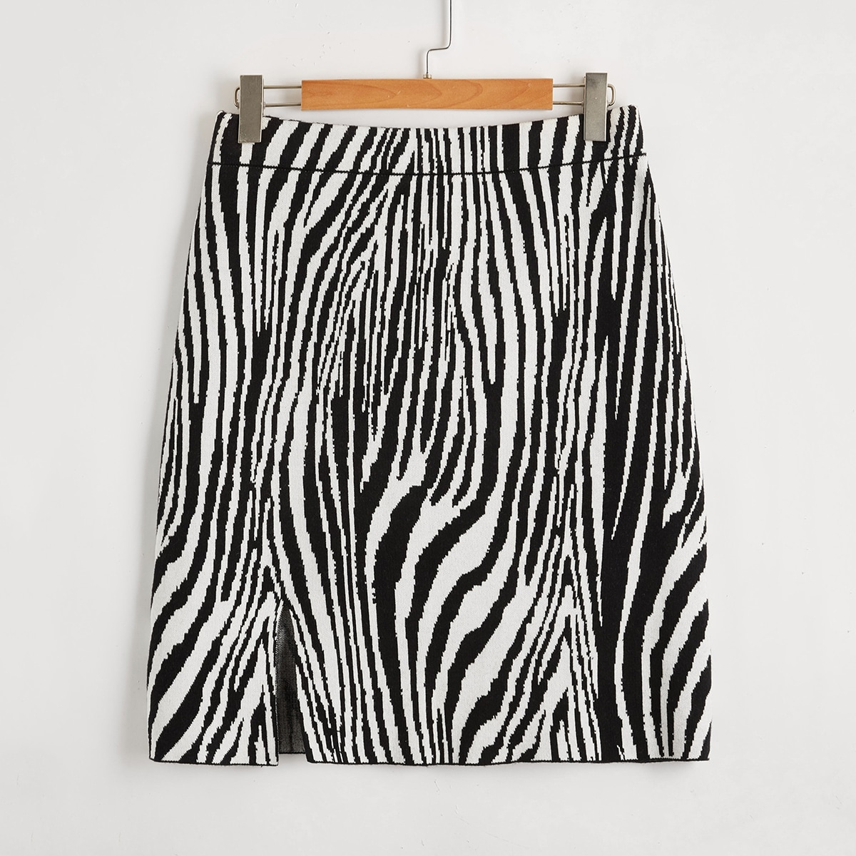 Разрез зебра-полосатый принт повседневный трикотажные юбки размер плюс