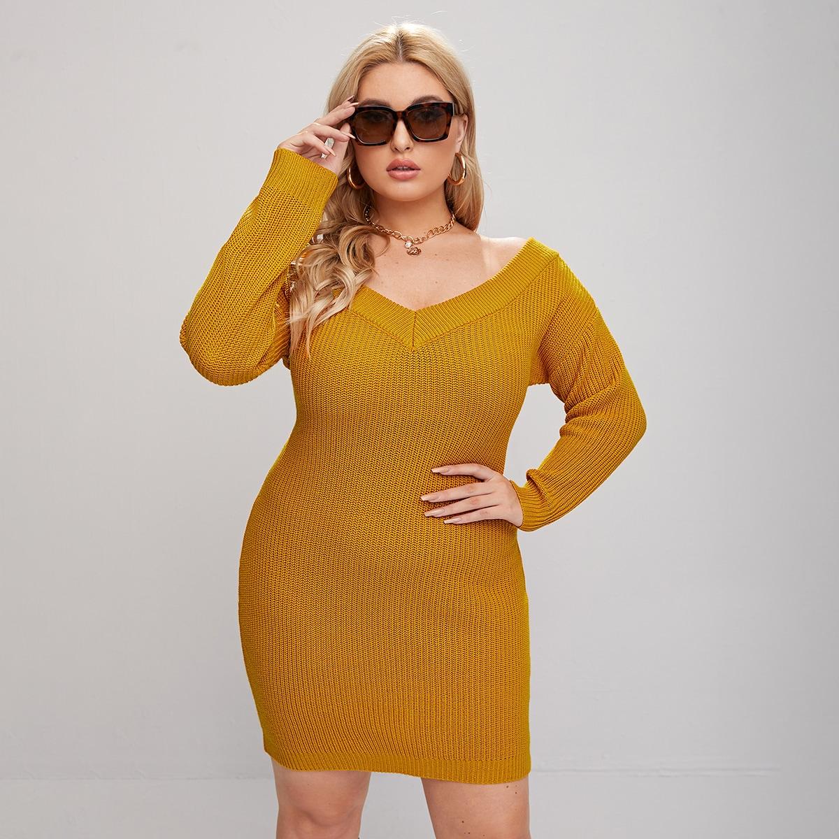Шнуровка одноцветный элегантный свитер-платье размер плюс