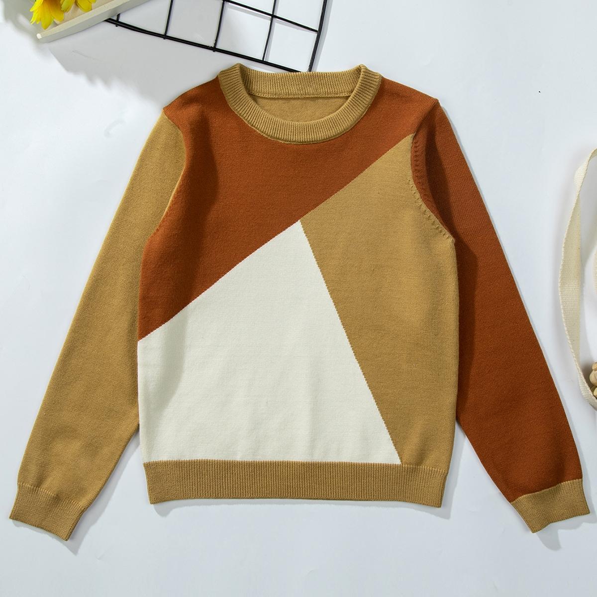 Контрастный цвет повседневный свитеры для мальчиков