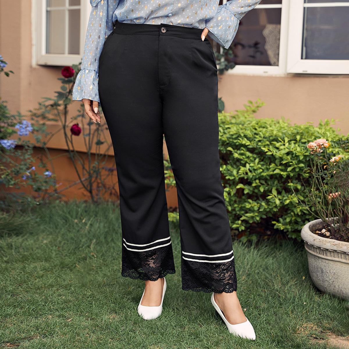 Контрастные кружева полосатый элегантный брюки размер плюс