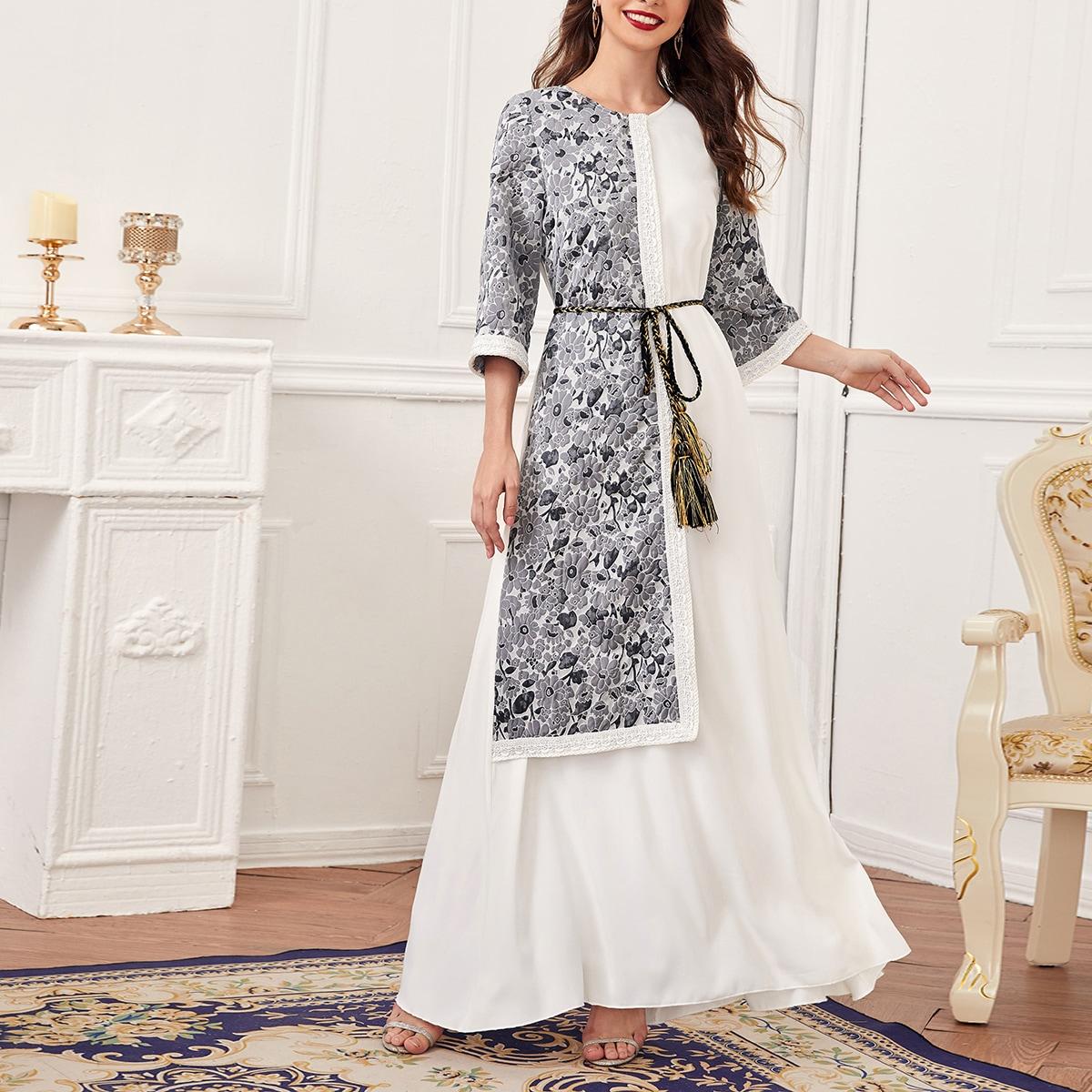 На молнии со цветочками элегантный арабская одежда