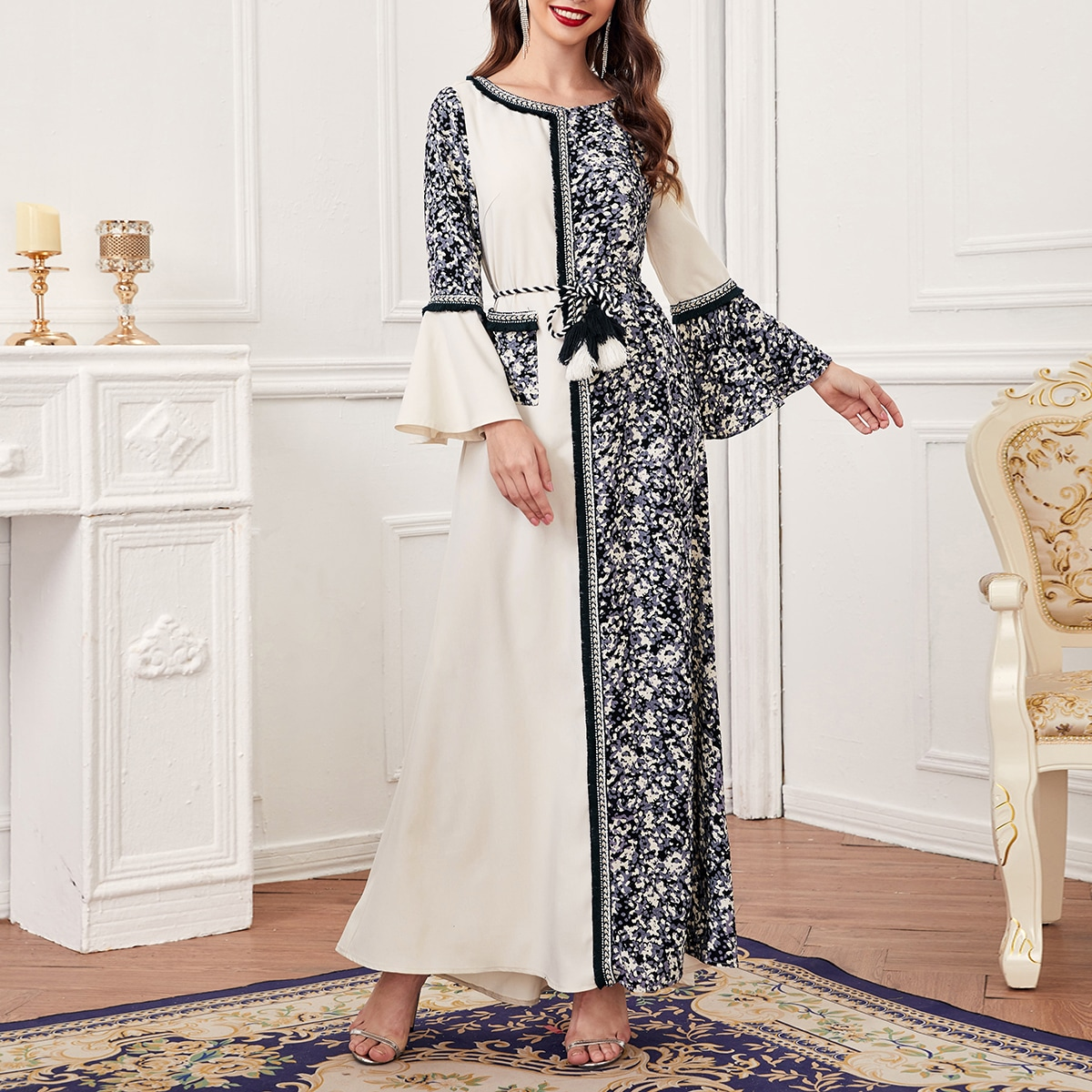 С воланами контрастный цвет элегантный арабская одежда