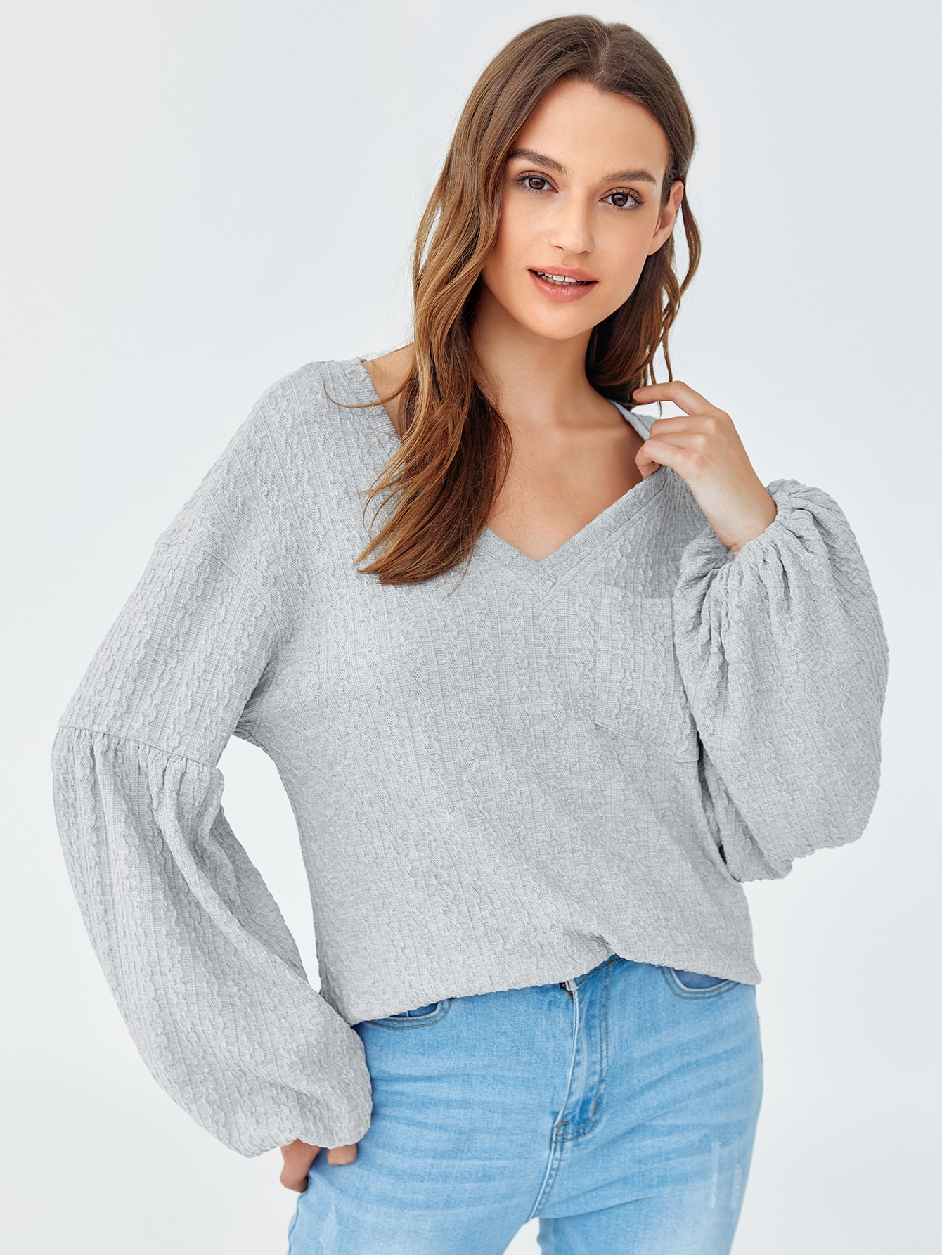 Lantern Sleeve Pocket Front Cable Knit Top thumbnail