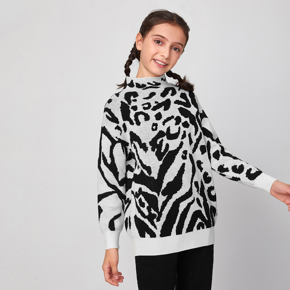 зебра-полосатый принт Повседневный Свитера для девочек