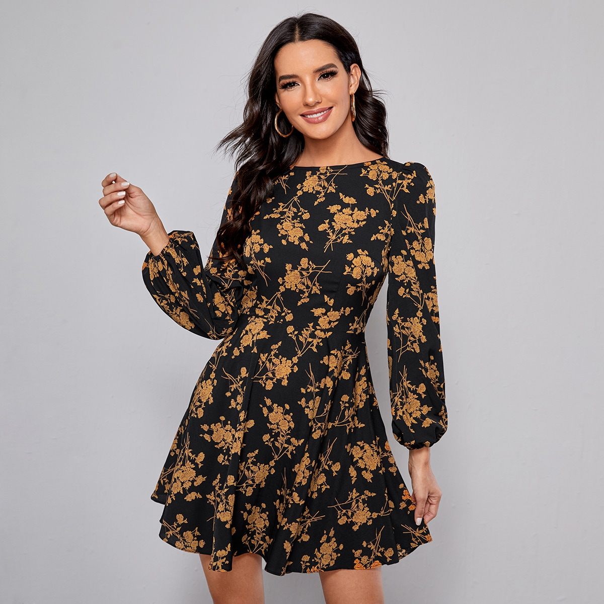 Bishop Sleeve Floral Dress