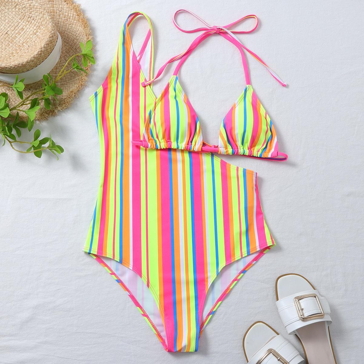 Colorful Striped Triangle One Shoulder Bikini Swimsuit