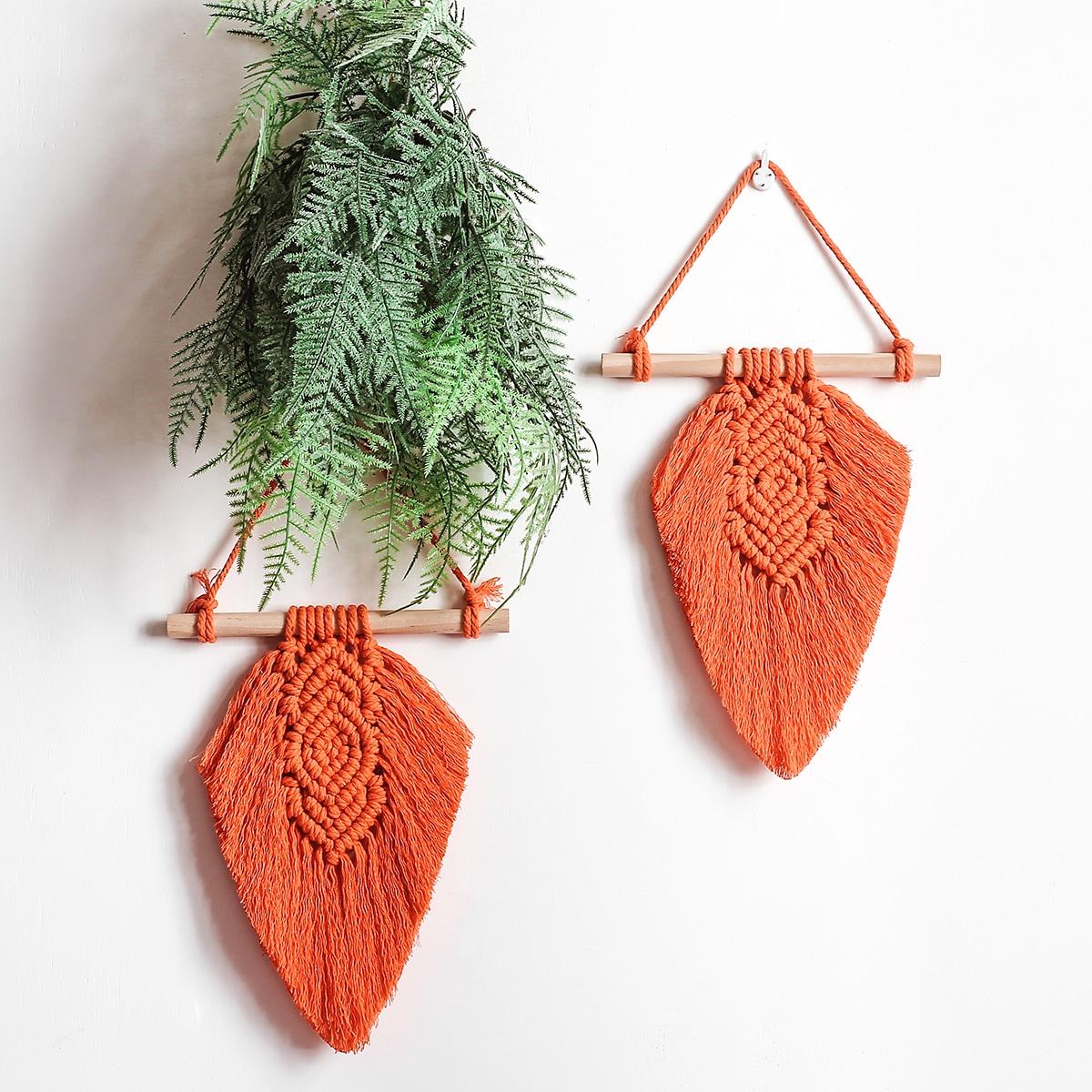 Плетеное украшение на стене в форме листа 1шт