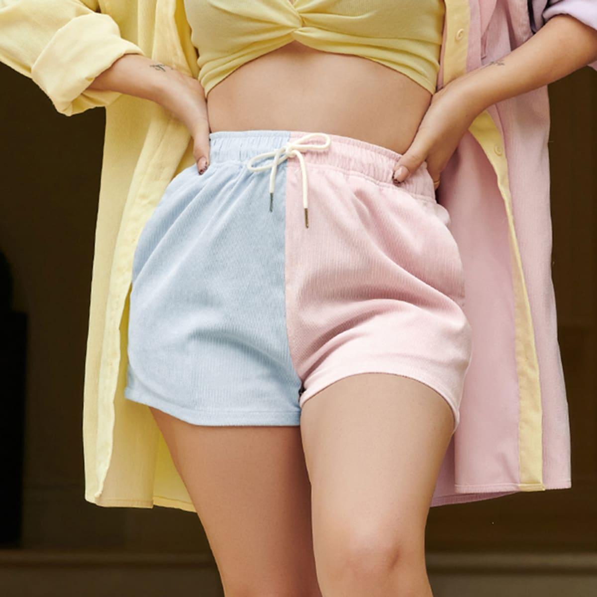 Двухцветные вельветовые шорты