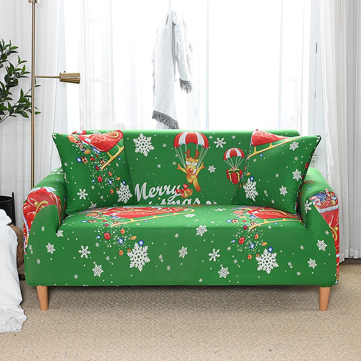 Эластичный чехол для дивана с рождественским рисунком без подушки