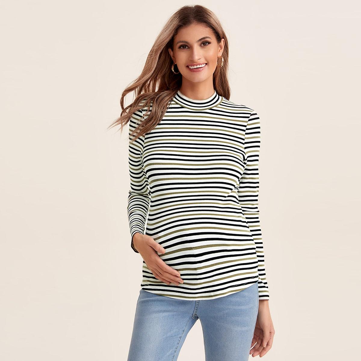 Полосатый повседневный футболки для беременных