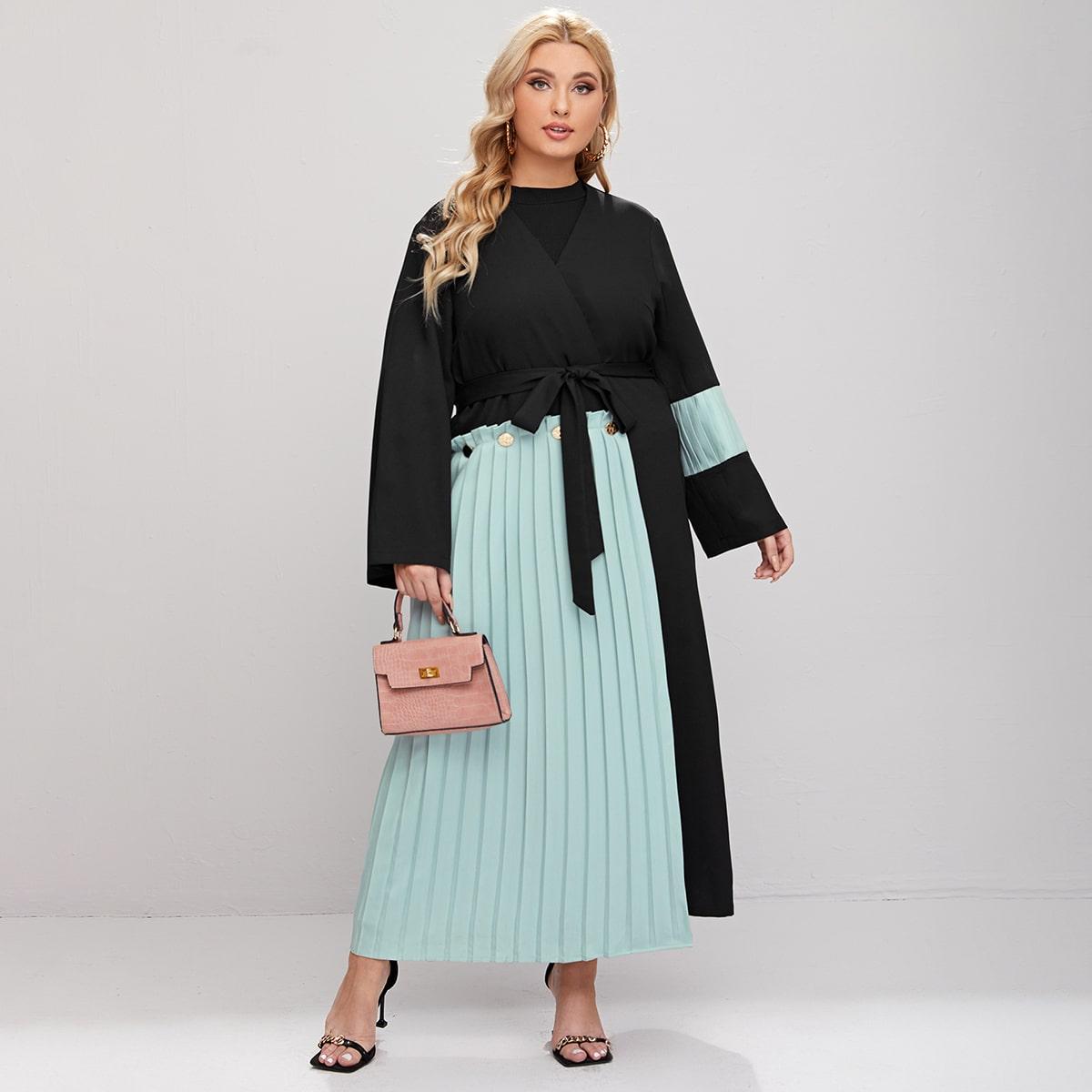С поясом контрастный цвет кимоно размер плюс
