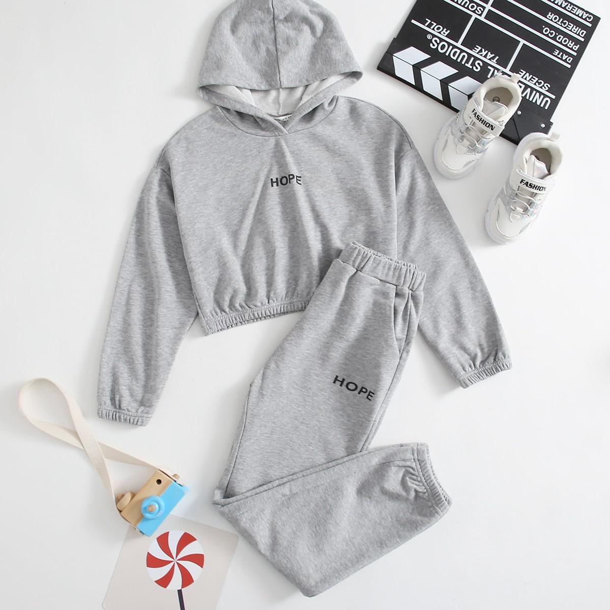 Ensemble pantalon de jogging et pull à capuche court à lettres
