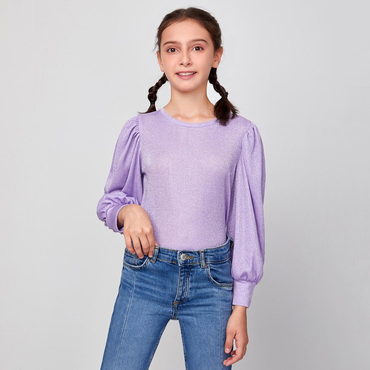 Одноцветный повседневный футболки для девочек