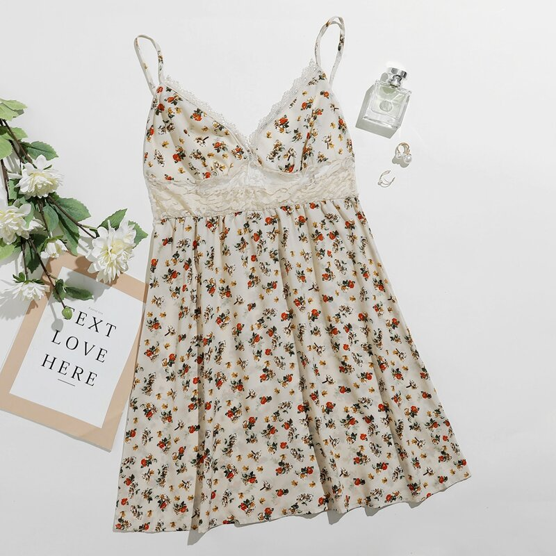 Lace Insert Floral Print Cami Nightdress, Beige
