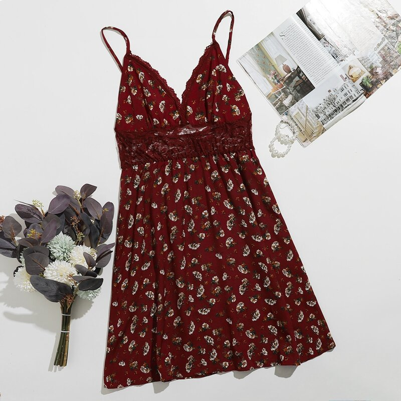 Lace Insert Floral Print Cami Nightdress, Burgundy