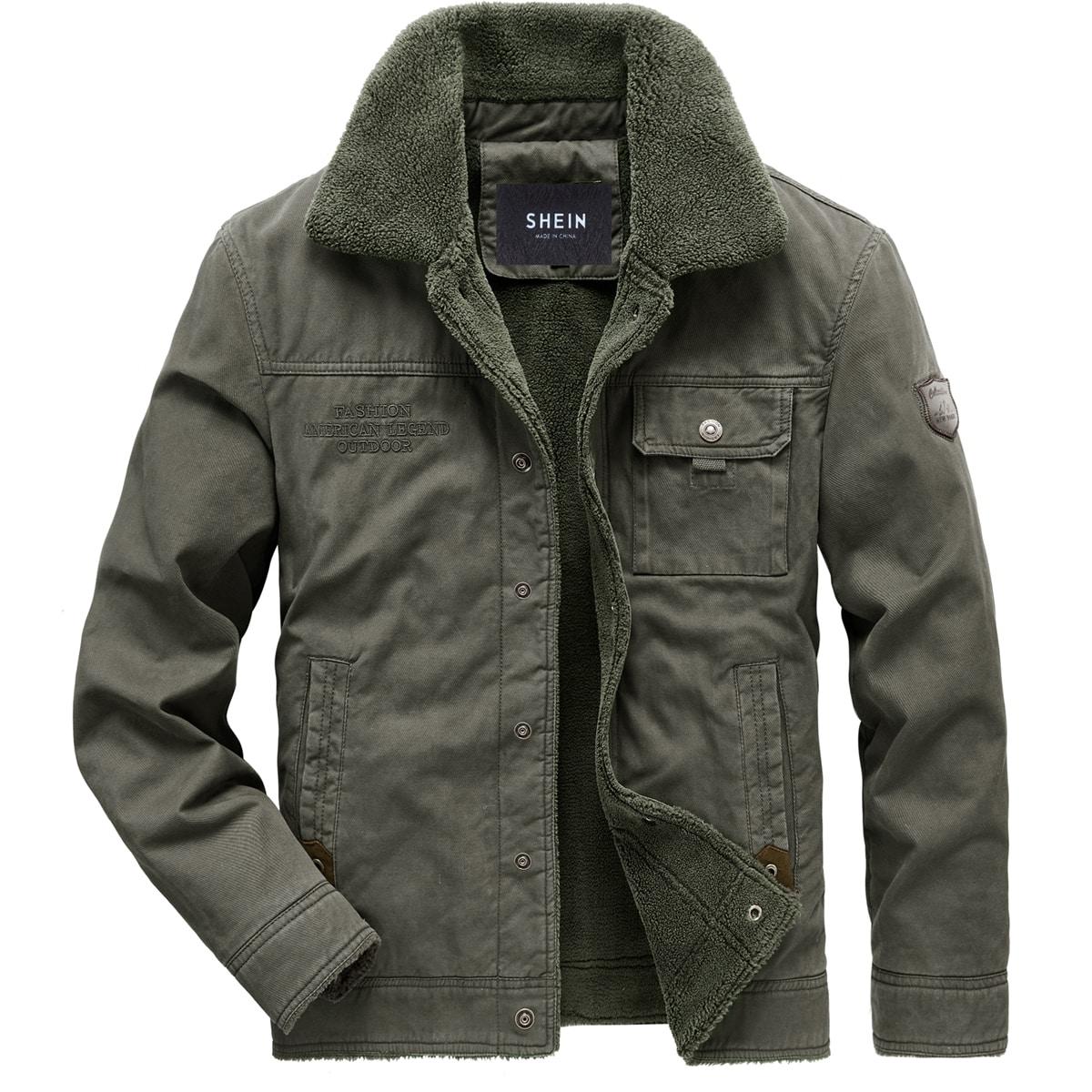 Мужская куртка с текстовой вышивкой и подкладкой из искусственного меха