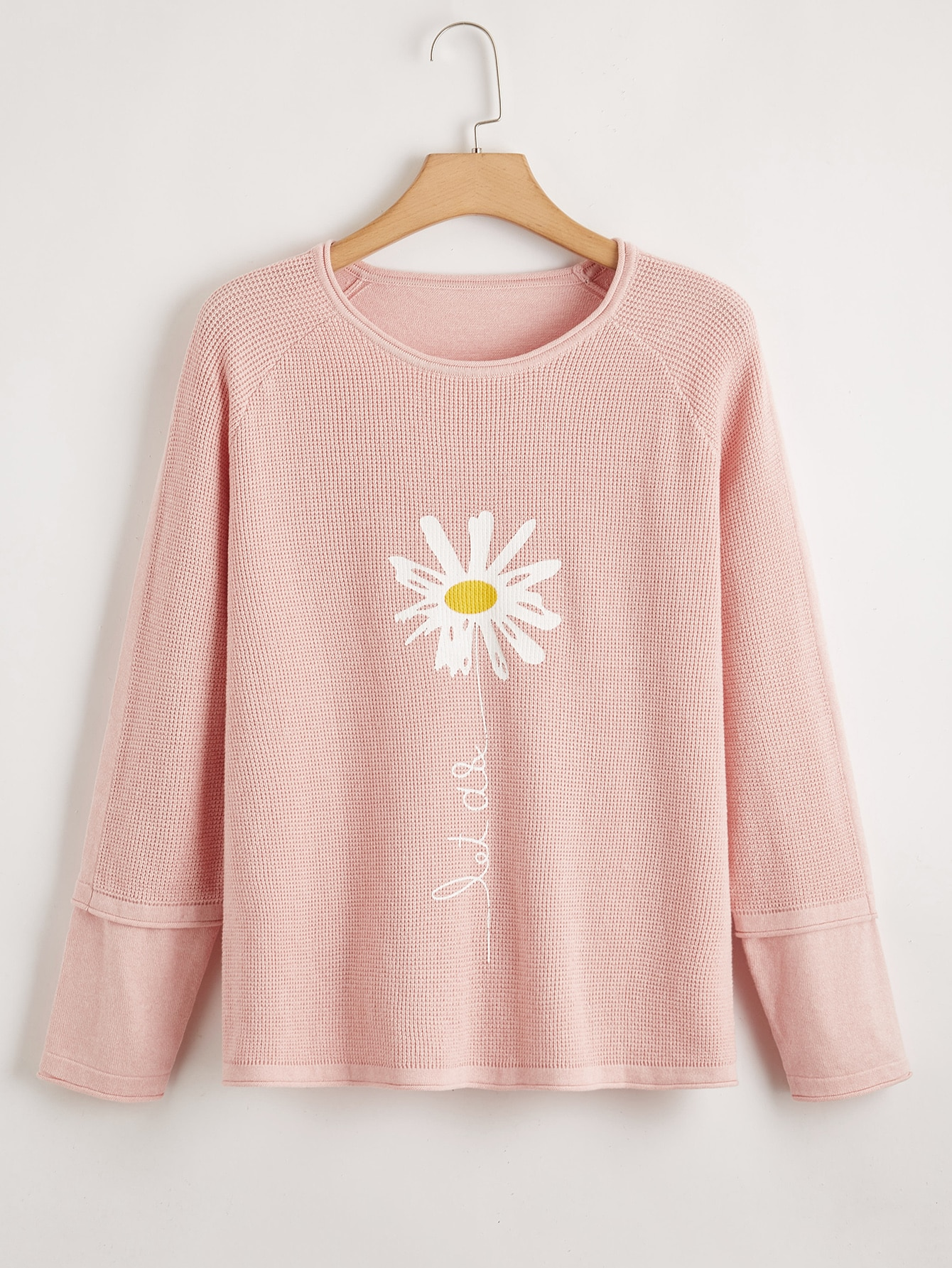 Plus Floral And Letter Pattern Raglan Sleeve Sweater