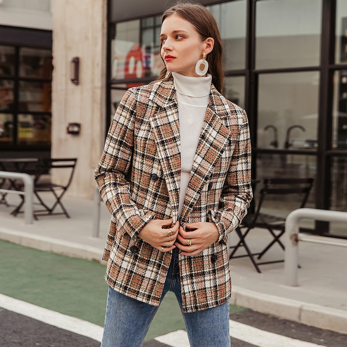 Double Button Tartan Tweed Blazer
