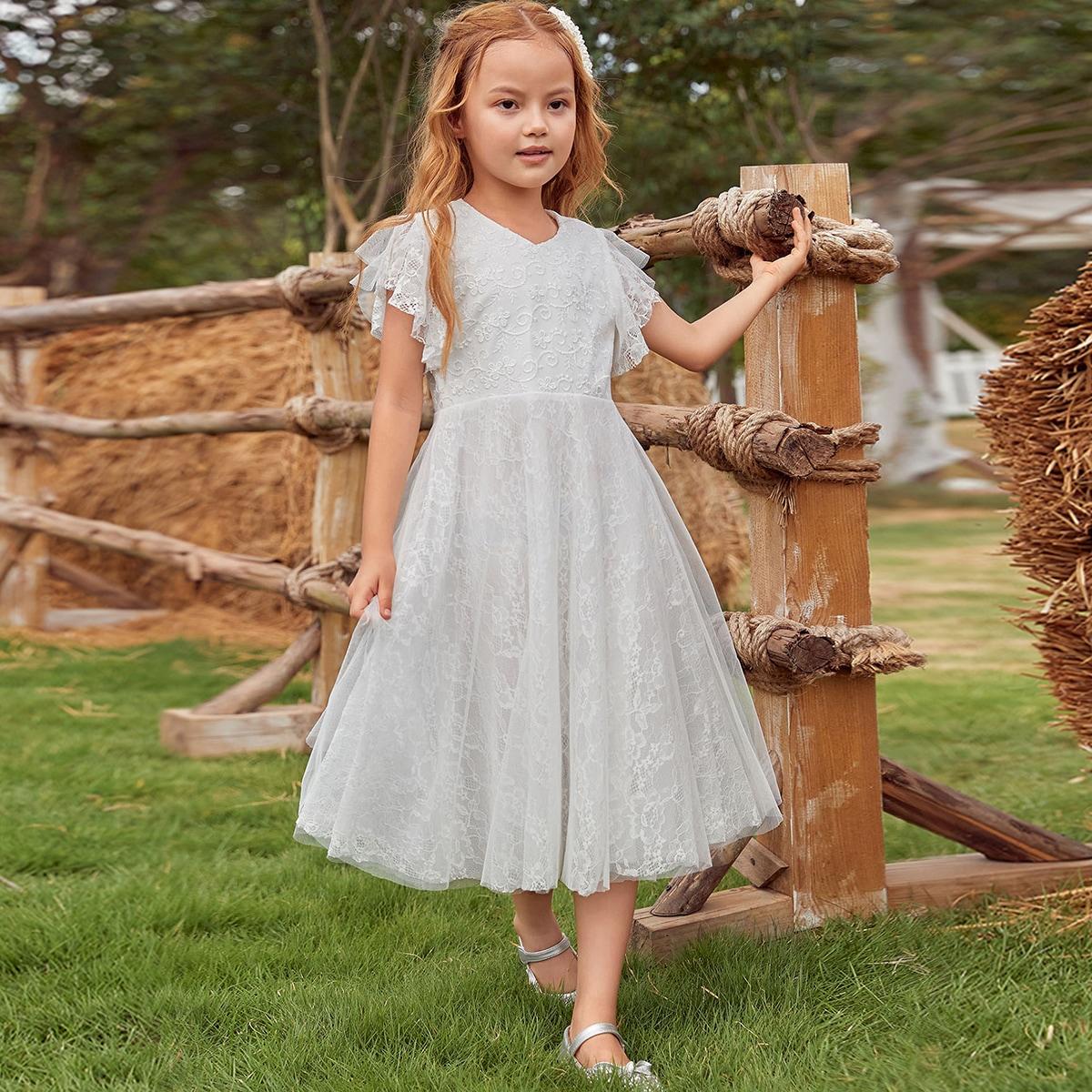 Girls Ruffle Cap Sleeve Lace Prom Dress