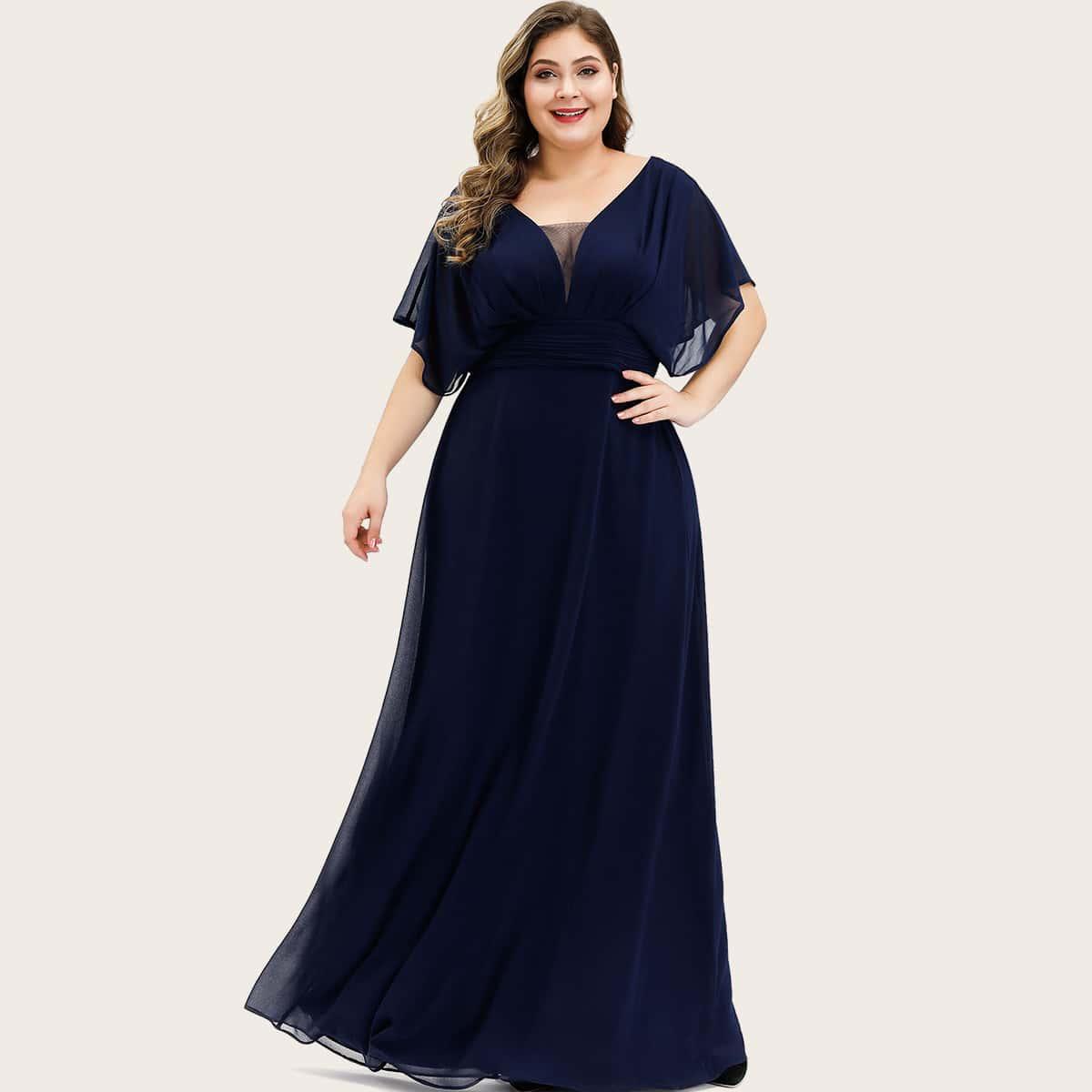 плиссированное Одноцветный Очаровательный Платья размер плюс