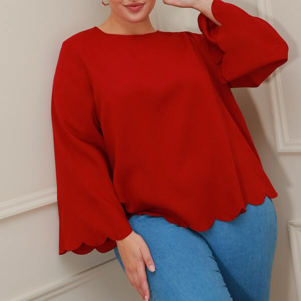 Plus Bell Sleeve Scallop Edge Solid Top, Red