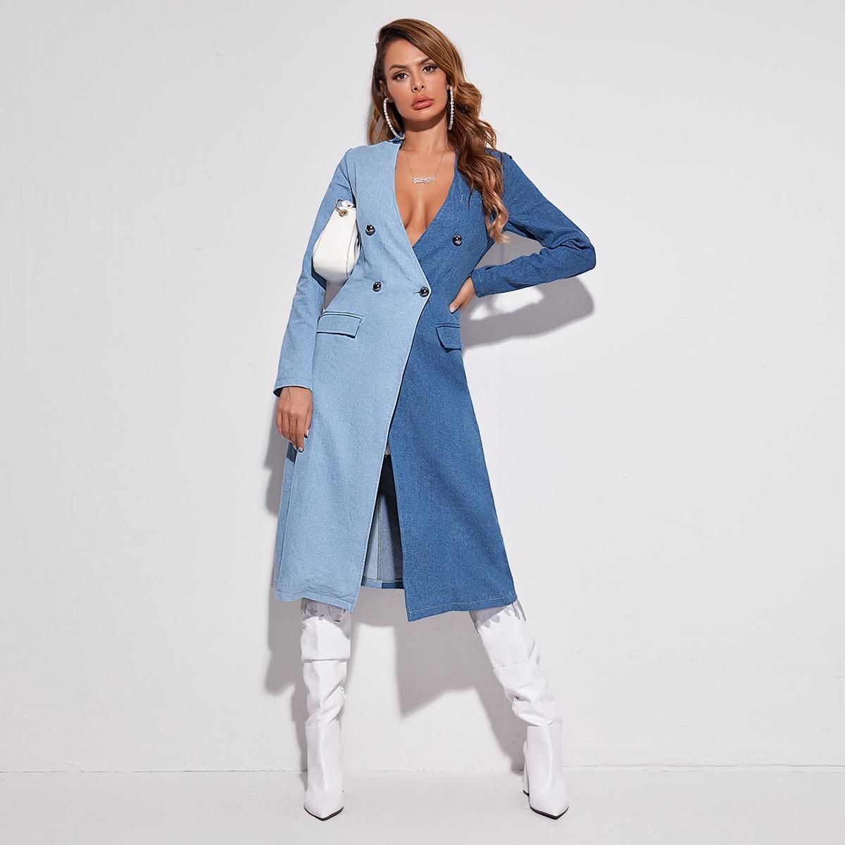 Двойная пуговица контрастный цвет повседневный джинсовые куртки & пальто