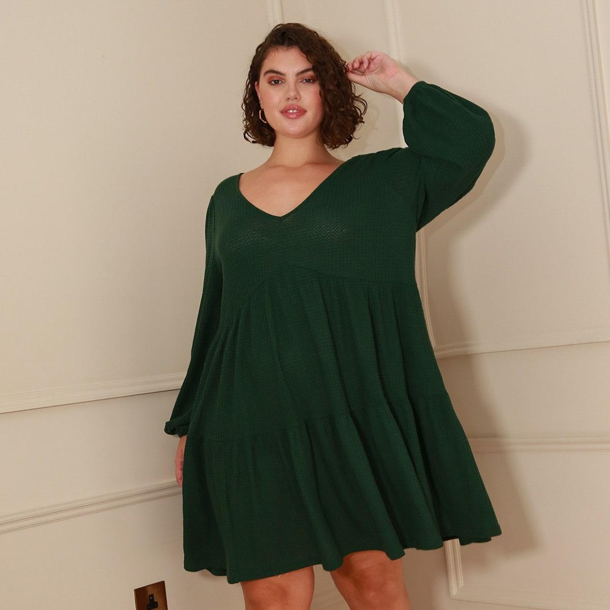 Низ-оборка Одноцветный Элегантный Платья размер плюс