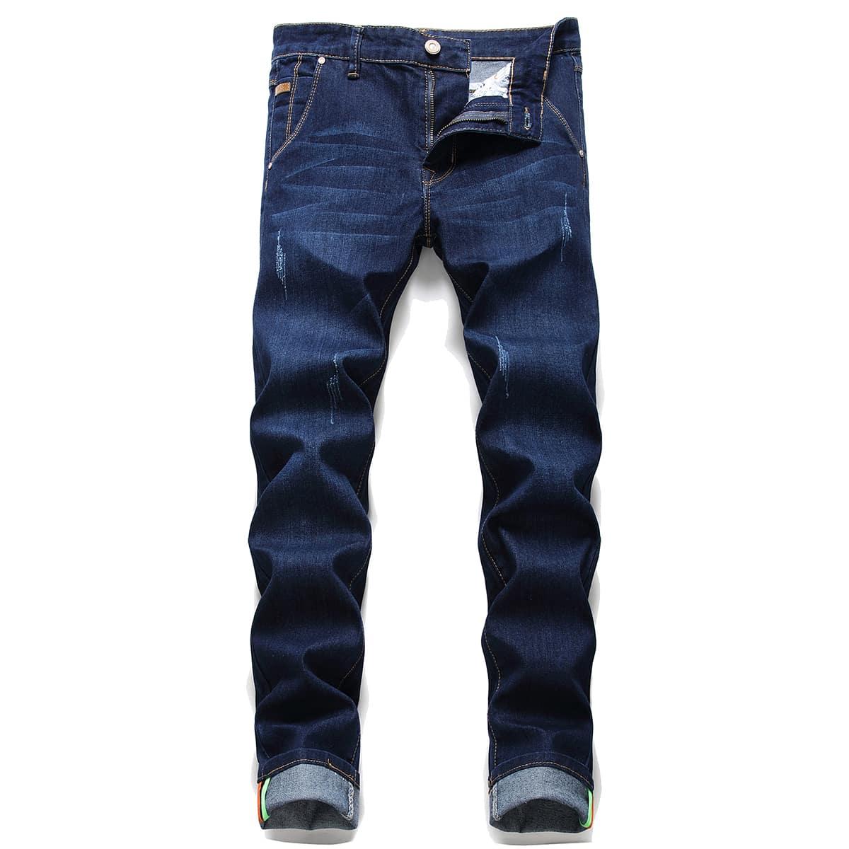 Карман одноцветный повседневный мужские джинсы