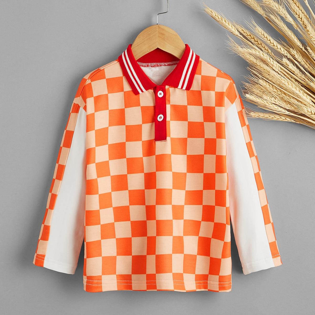 Контрастный воротник клетчатый повседневный рубашки поло для мальчиков