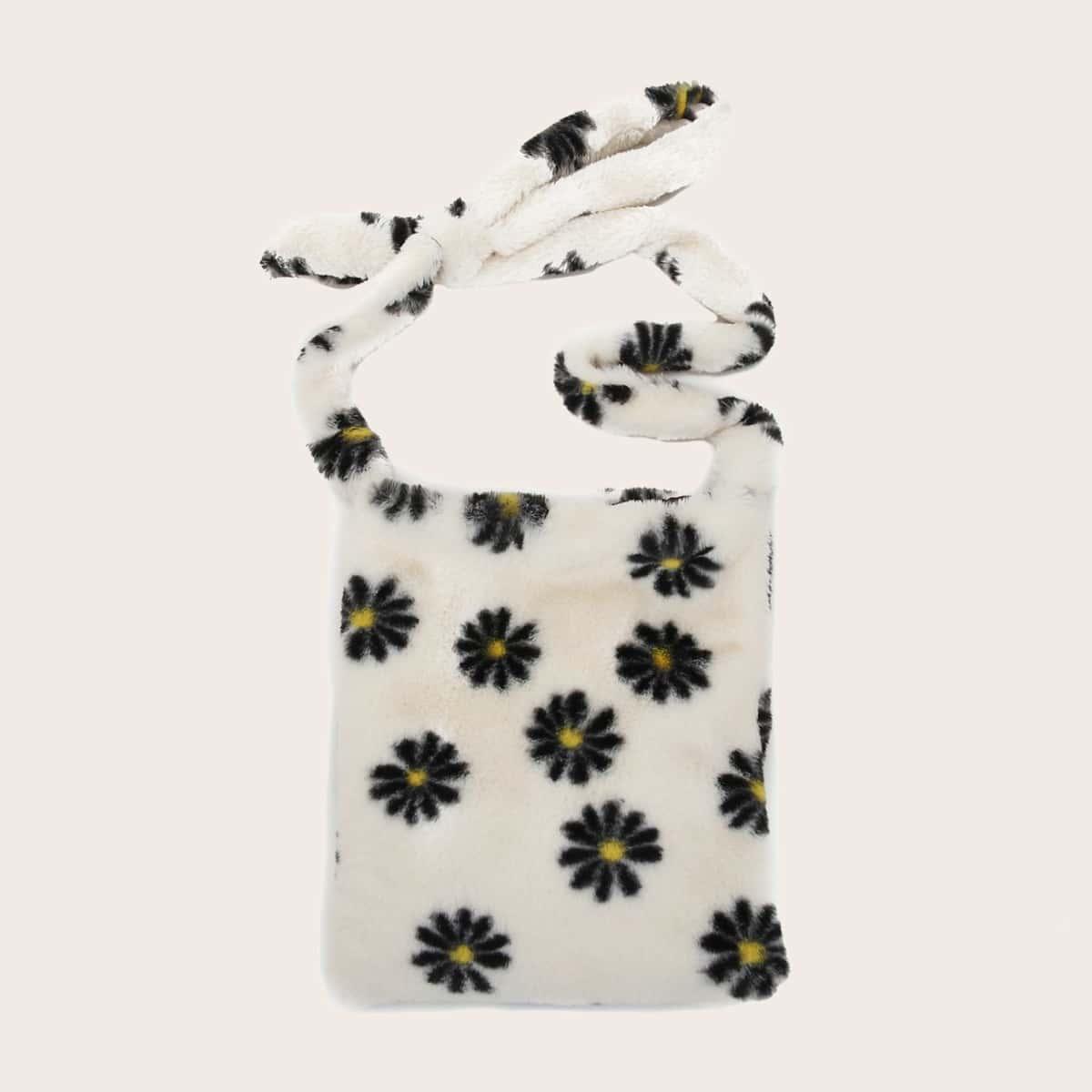Плюшевая сумка через плечо с цветочным рисунком
