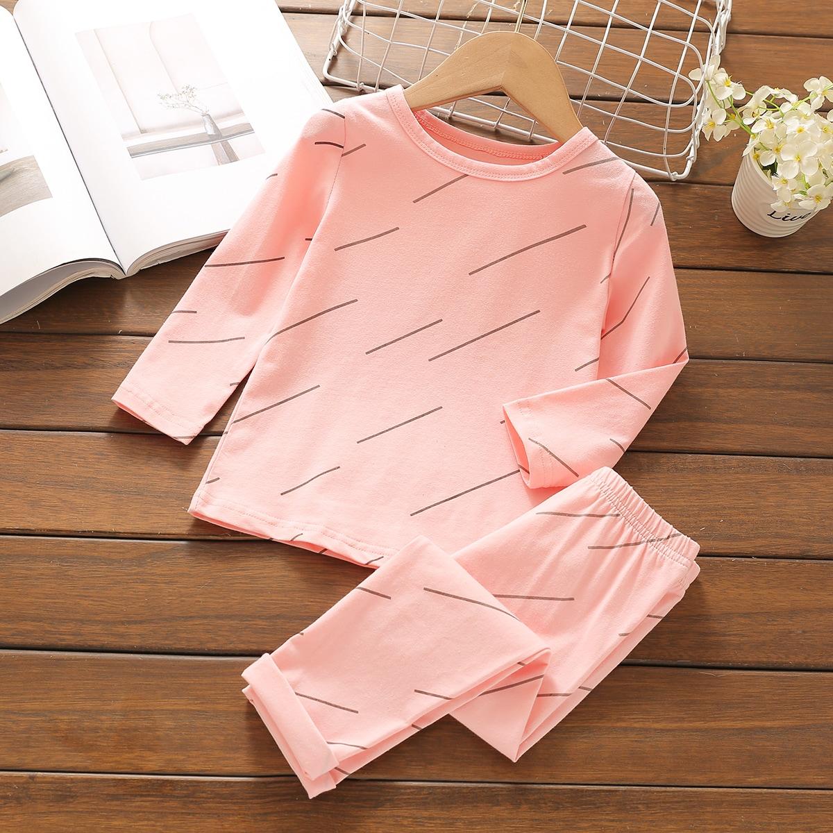 Полоска повседневный домашняя одежда для девочек