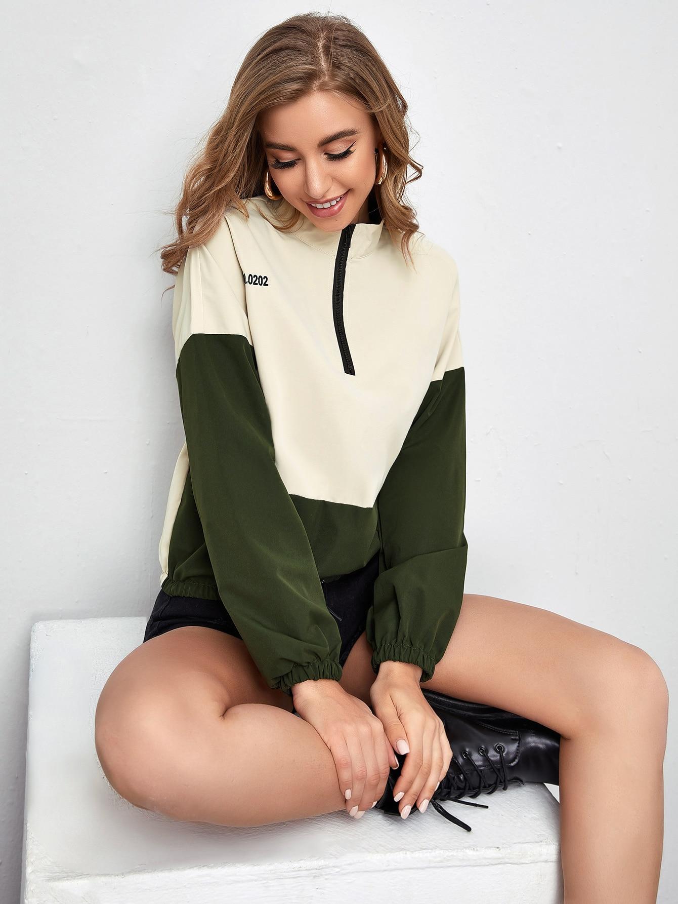 half zip letter graphic colorblock jacket