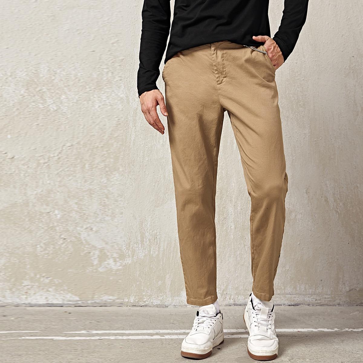 Пугавица одноцветный повседневный мужские брюки