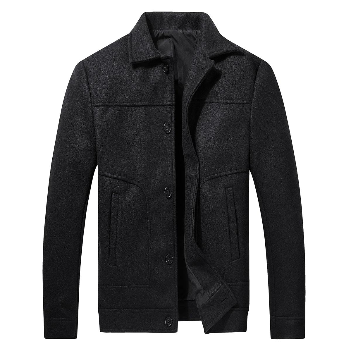 Мужское однотонное пальто на пуговицах спереди