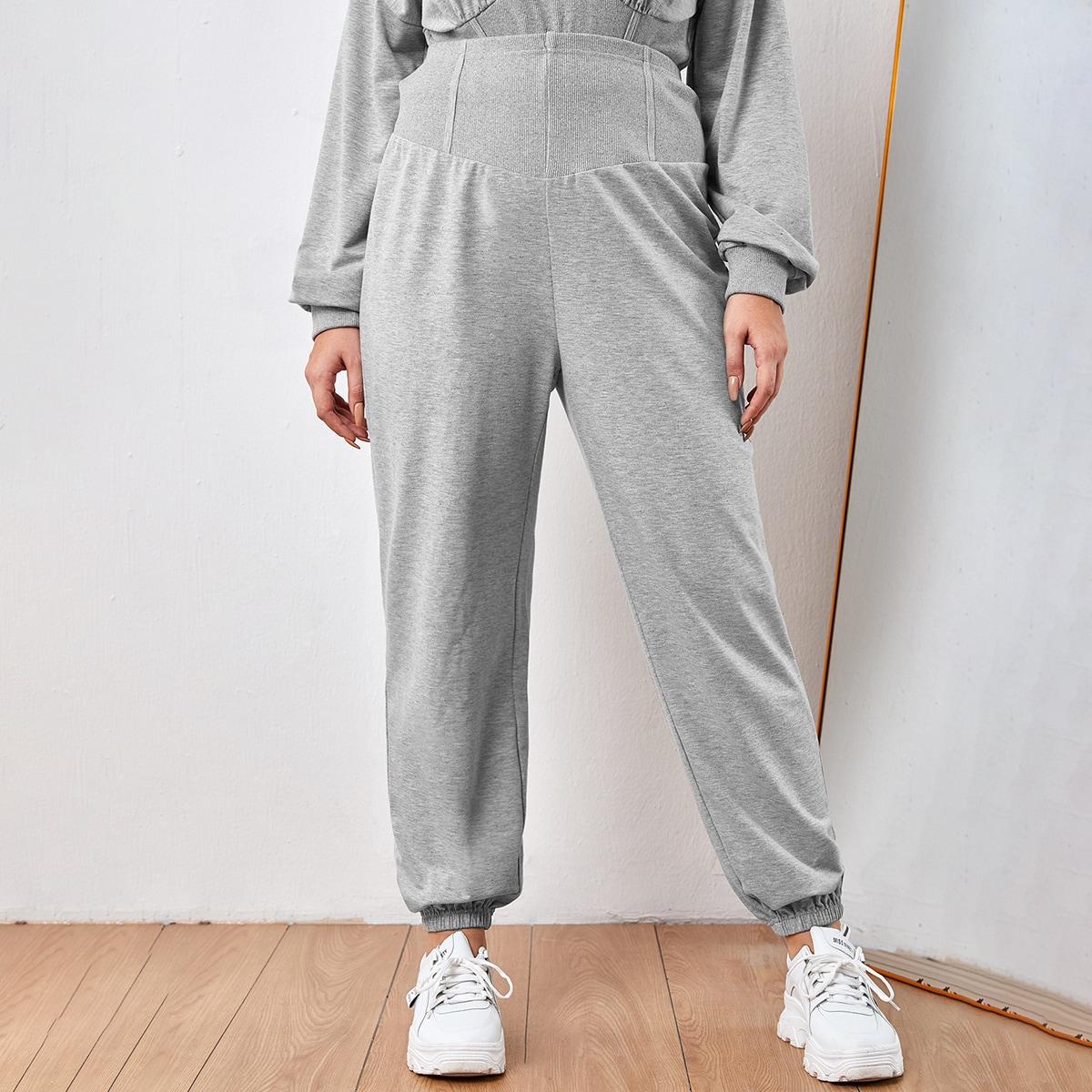 Одноцветный спортивный брюки размер плюс