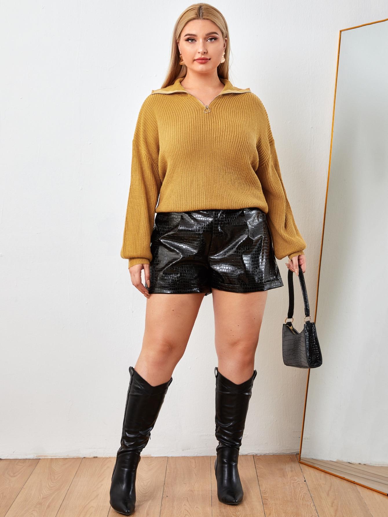 Plus Drop Shoulder Zip Half Placket Sweater thumbnail