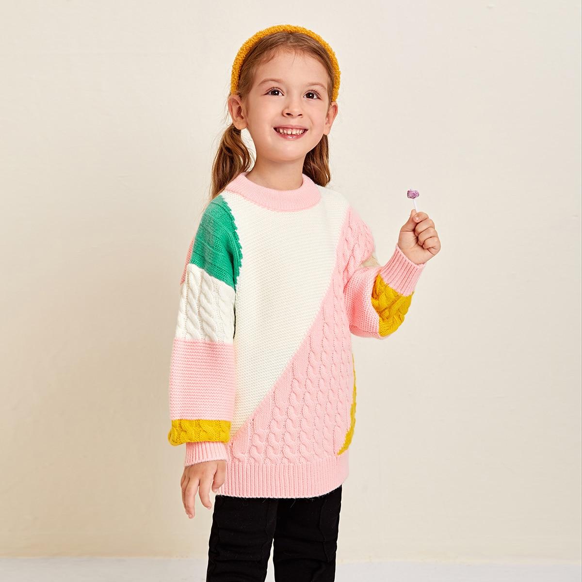 Контрастный цвет повседневный свитеры для девочек