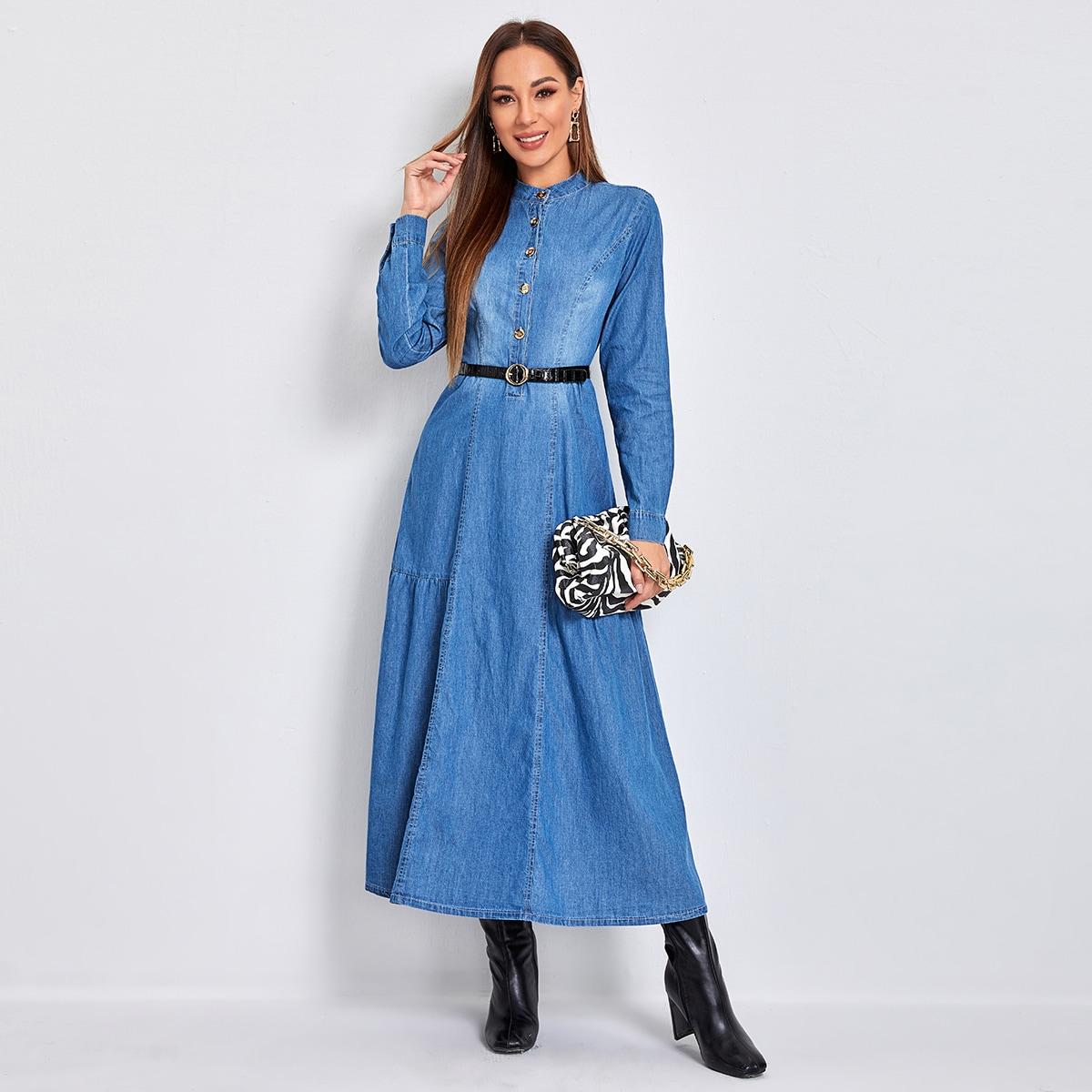 Однобортный одноцветный повседневный джинсовые платья