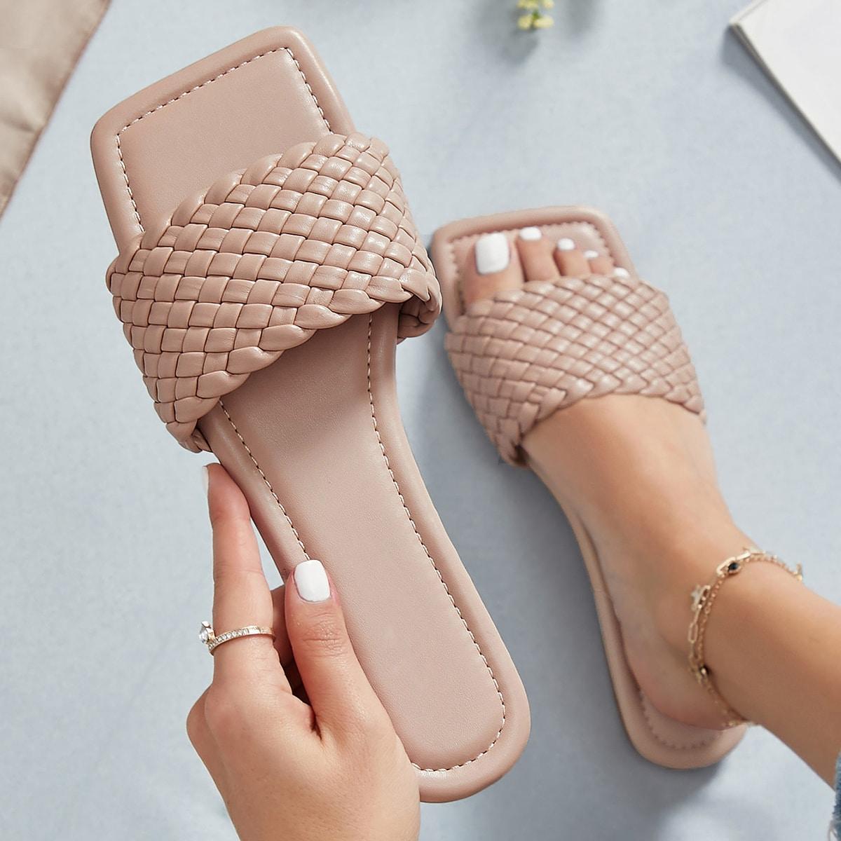 Плетеные сандалии из искусственной кожи