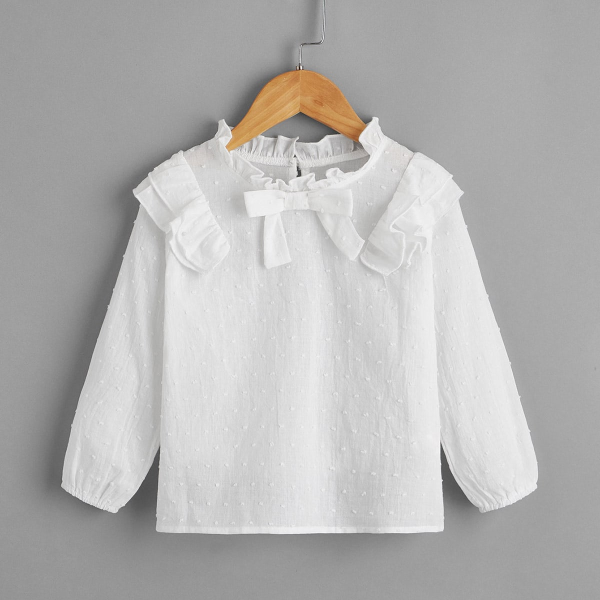 Бант одноцветный повседневный блузы для девочек