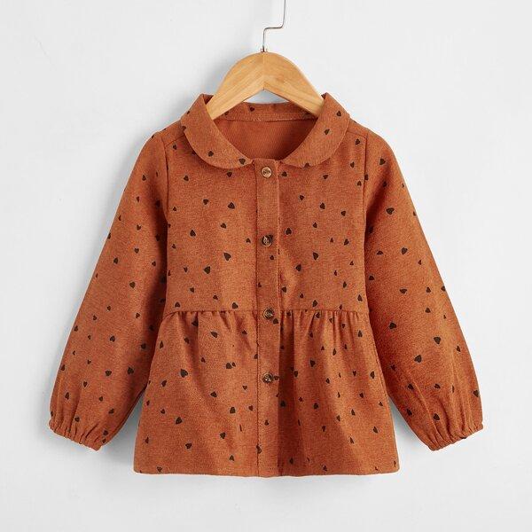 Toddler Girls Peter Pan Collar Heart Print Blouse, Burnt orange