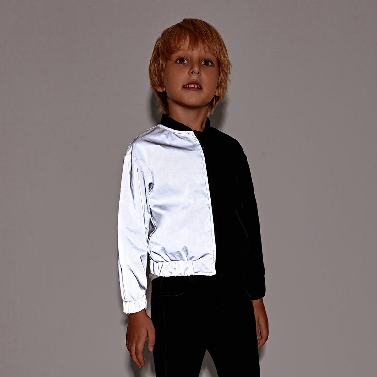На молнии контрастный цвет повседневный куртки для мальчиков