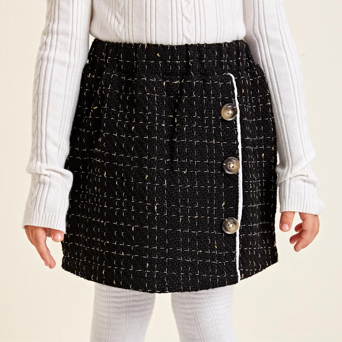 Пуговица клетчатый повседневный юбки для девочек