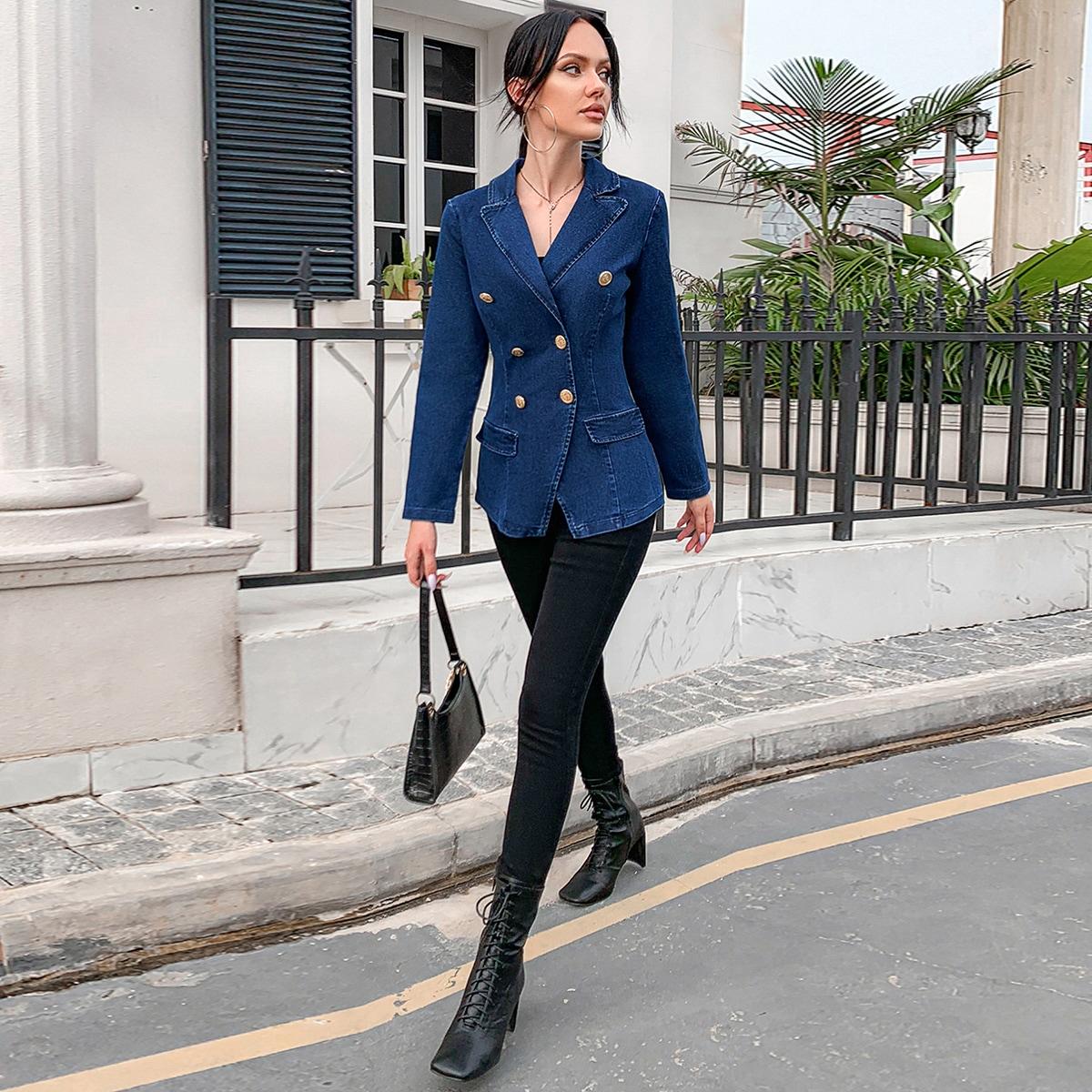 Двойная пуговица одноцветный повседневный джинсовые куртки & пальто