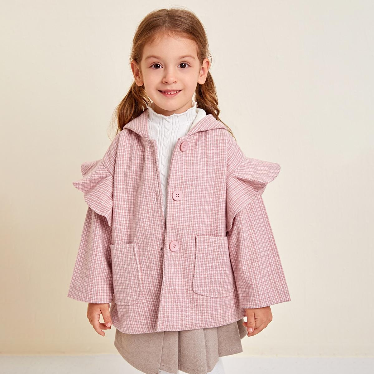 С карманами клетчатый институтский пальто для маленьких девочек