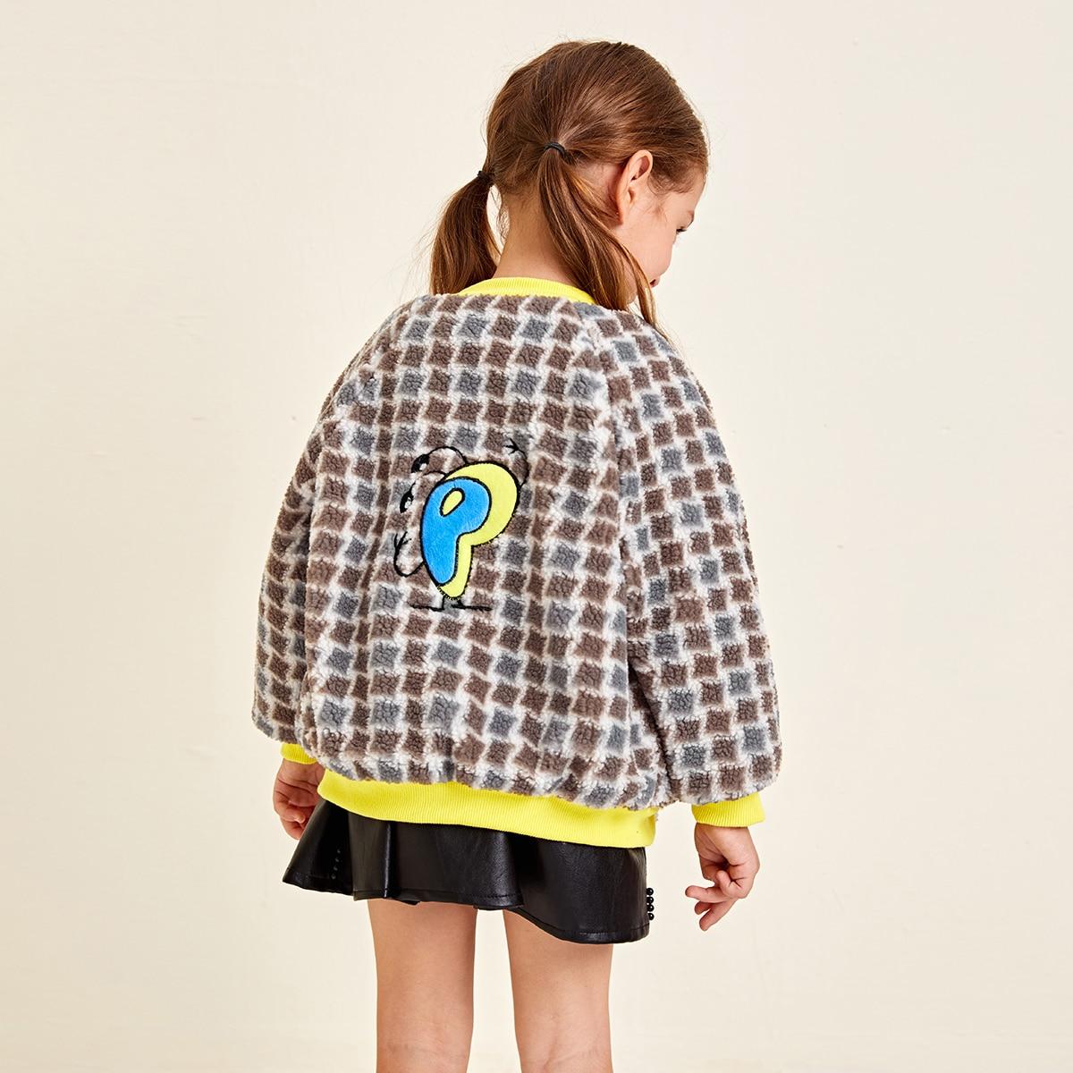 На молнии клетчатый повседневный куртки для девочек