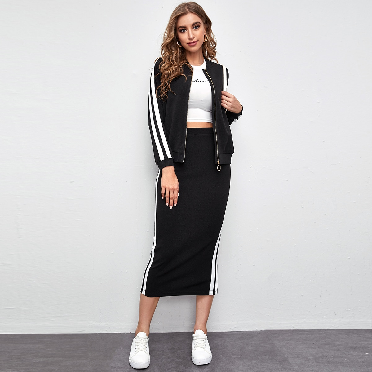Striped Side O-ring Zip Up Bomber Jacket and Skirt Set
