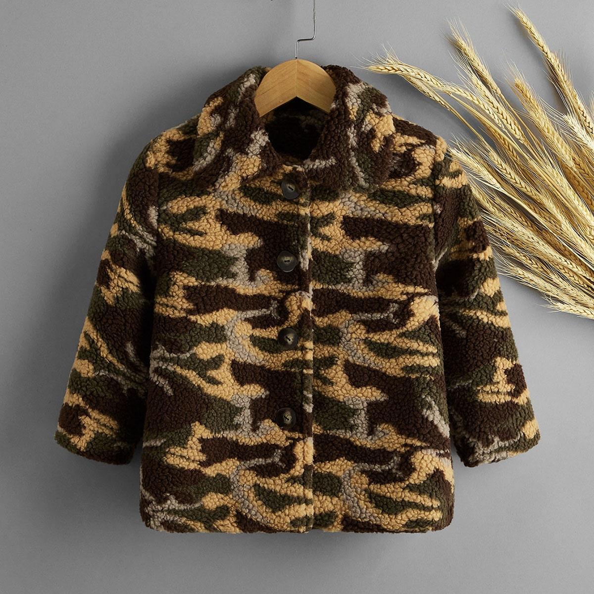 Пуговица камуфляж повседневный пальто для маленьких мальчиков